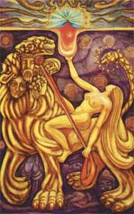 "Babalon as depicted in the card ""Lust"" in the Thoth Tarot deck"