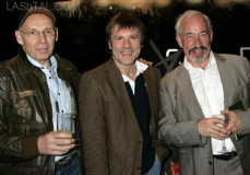 Bruce Dickinson of British heavy metal rock band Iron Maiden, center, British actor Simon Callow, right, and movie director Julian Doyle,  pose for photographs as they arrive for the premiere of their movie 'Chemical Wedding' at Apollo West End Cinema in central London, Sunday, May 4, 2008. callow stars in the movie, Dickinson co-wrote the movie with Julian Doyle.(AP Photo/Akira Suemori)
