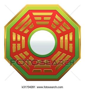 bagua mirror feng shui clipart  k31734281