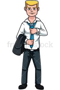8 boss man tying his tie cartoon clipart